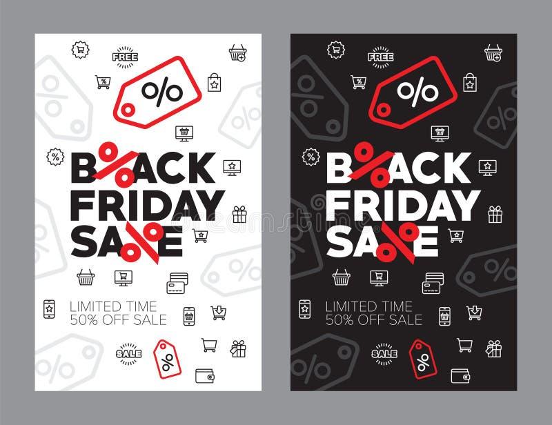 Venta del otoño ejemplo del vector del cincuenta por ciento Descuentos en el negro viernes de la tienda stock de ilustración