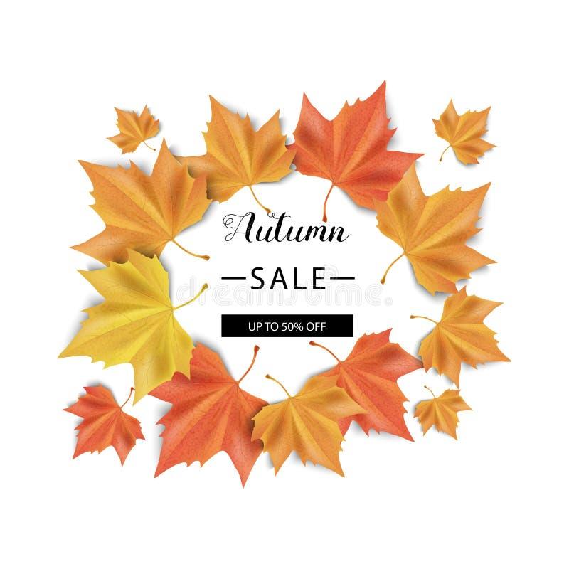 VENTA del otoño Ilustración del vector Hojas de otoño anaranjadas y amarillas y con el texto Venta foto de archivo libre de regalías
