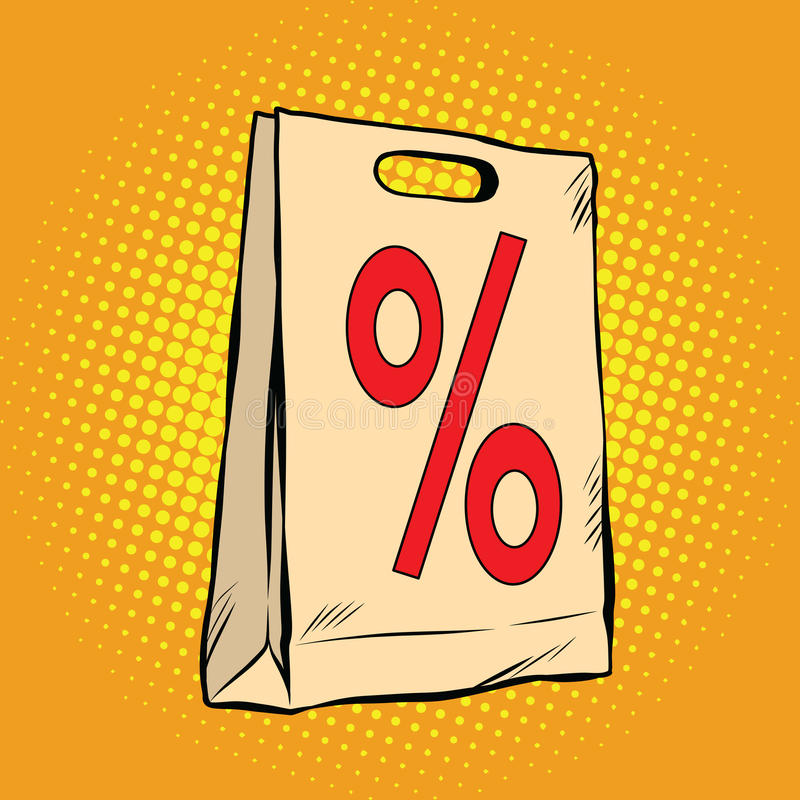 Venta del por ciento del descuento del paquete ilustración del vector