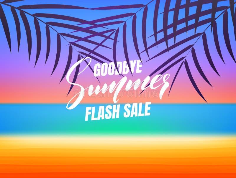 Venta del verano Adiós bandera de destello de la venta del verano Fondo con la playa y las palmas tropicales ilustración del vector