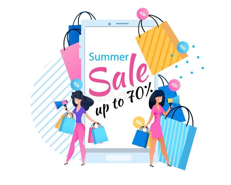 Venta del verano asunto del hasta 70 por ciento para las mujeres stock de ilustración