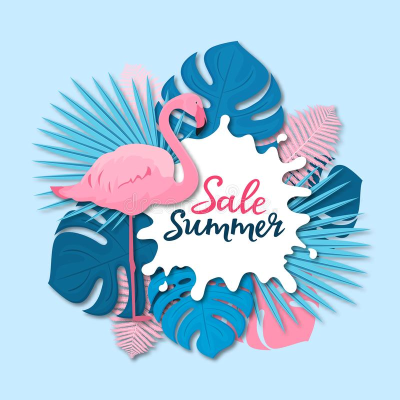 Venta del verano Bandera con las hojas tropicales y el flamenco rosado en el estilo cortado de papel ilustración del vector