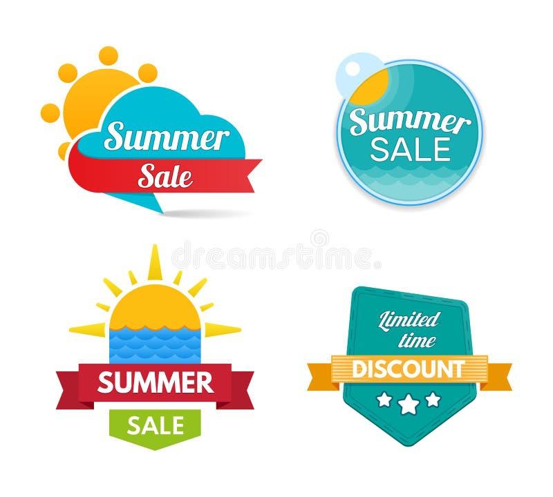 Venta del verano Banderas del diseño y etiquetas engomadas del descuento Plantillas de la oferta especial ilustración del vector