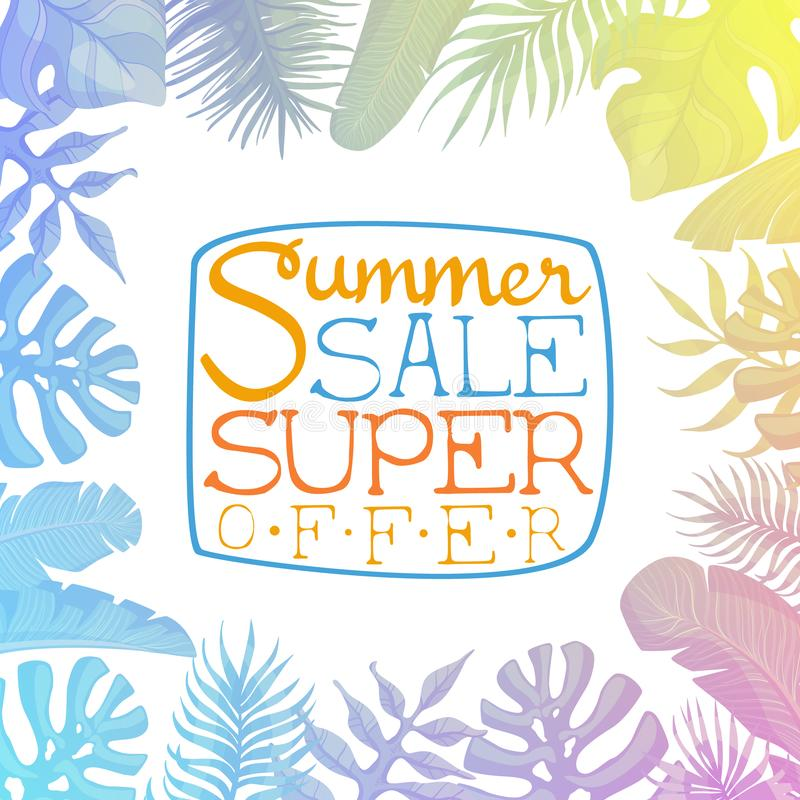 Venta del verano, cartel estupendo de la publicidad de la oferta, bandera, tarjeta, invitación, logotipo, vector exhausto de la m stock de ilustración