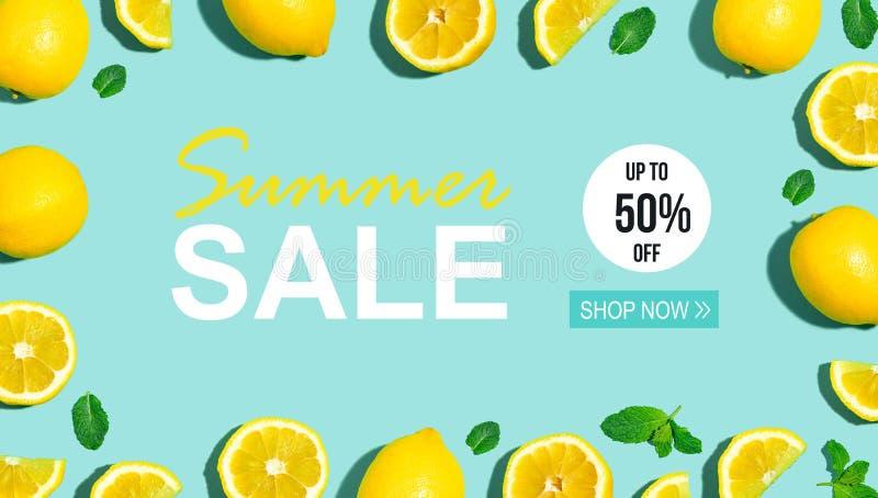 Venta del verano con el limón fresco stock de ilustración