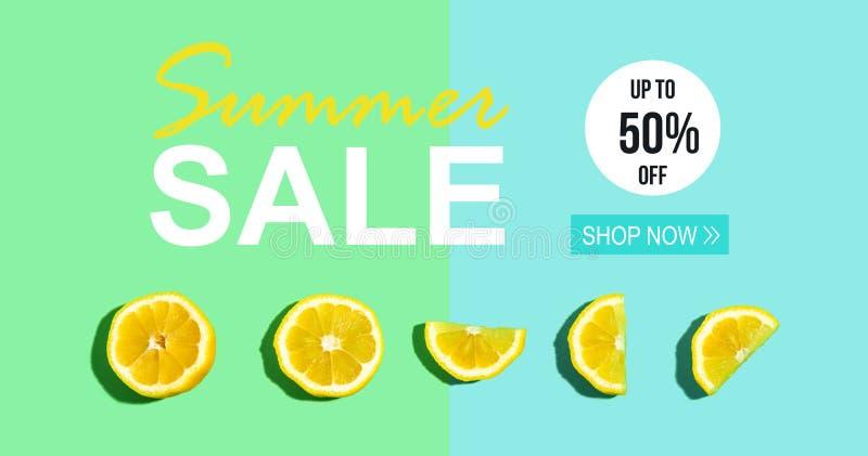 Venta del verano con el limón fresco ilustración del vector