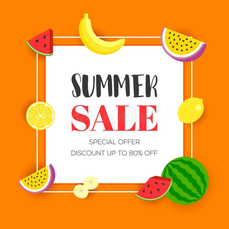Venta del verano con la fruta tropical, ejemplo del vector stock de ilustración
