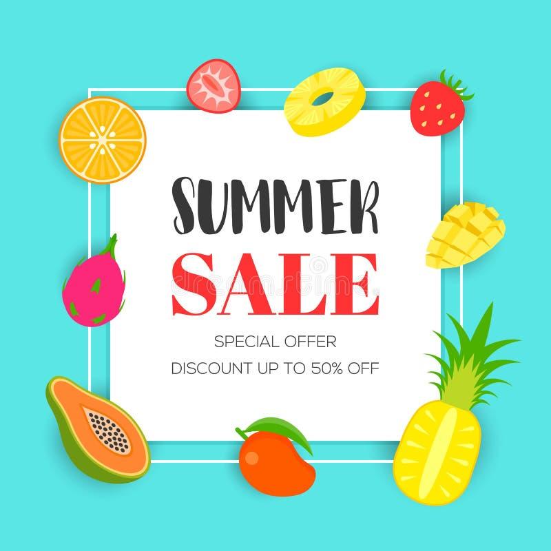 Venta del verano con la fruta tropical, ejemplo del vector ilustración del vector
