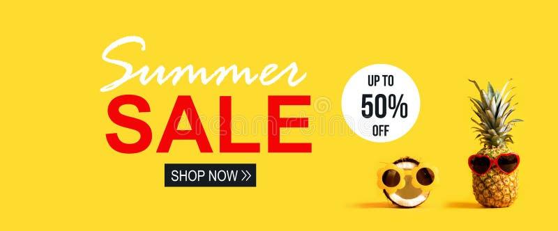 Venta del verano con la piña y el coco stock de ilustración