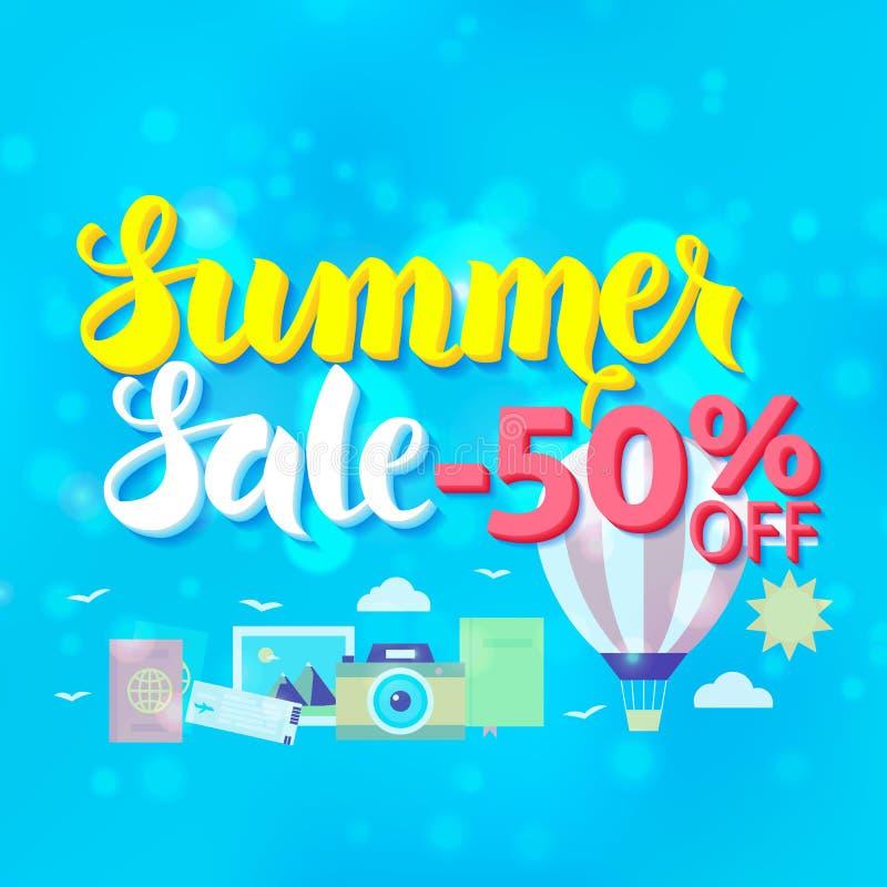 Venta 50 del verano de letras sobre fondo borroso azul ilustración del vector