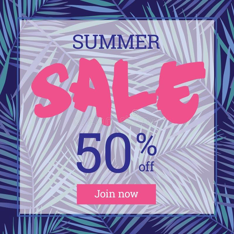 Venta del verano encima del tu el 50 por ciento apagado Web-bandera o cartel ilustración del vector