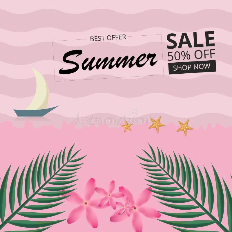 Venta del verano, fondo tropical con las hojas, flor y barco libre illustration