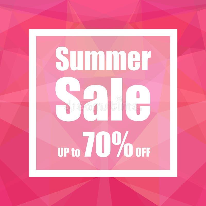 Venta del verano hasta el 70% apagado con estilo del fondo del extracto del polígono diseño para una tienda y las banderas de la  stock de ilustración
