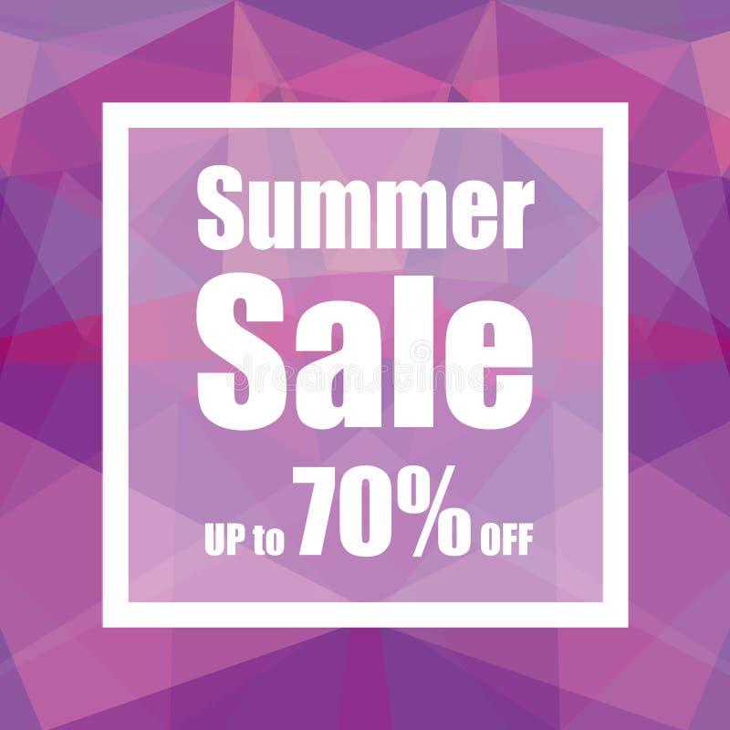 Venta del verano hasta el 70% apagado con estilo del fondo del extracto del polígono diseño para una tienda y las banderas de la  libre illustration