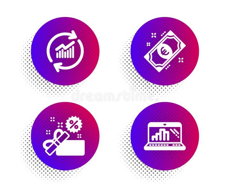 Venta, dinero euro y sistema de los iconos de los datos de la actualización Muestra del ordenador port?til del gr?fico Caja de re libre illustration