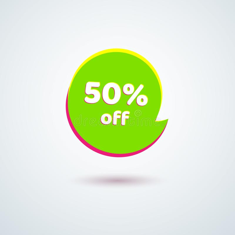 Venta el 50% de la etiqueta de precio de la etiqueta del elemento redondo verde claro del diseño de la etiqueta engomada de la ba ilustración del vector
