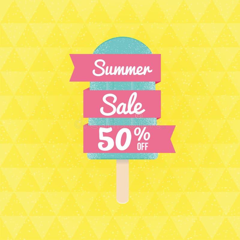 Venta el 50% del verano apagado con helado y la bandera libre illustration