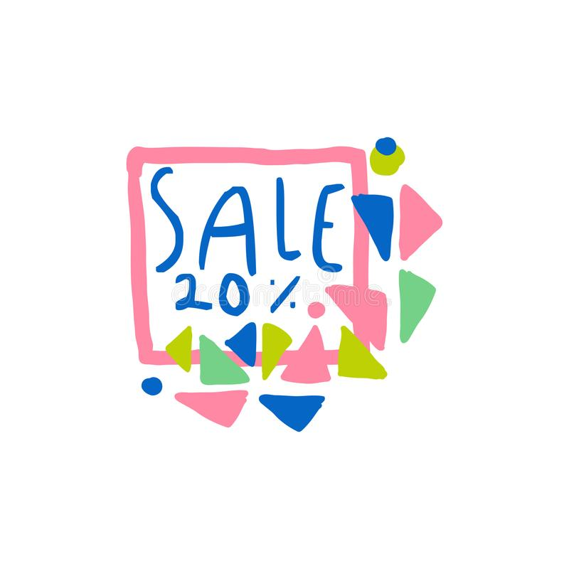 Venta el 20 por ciento del logotipo, etiqueta de la oferta especial, bandera, haciendo publicidad de vector dibujado mano colorid libre illustration