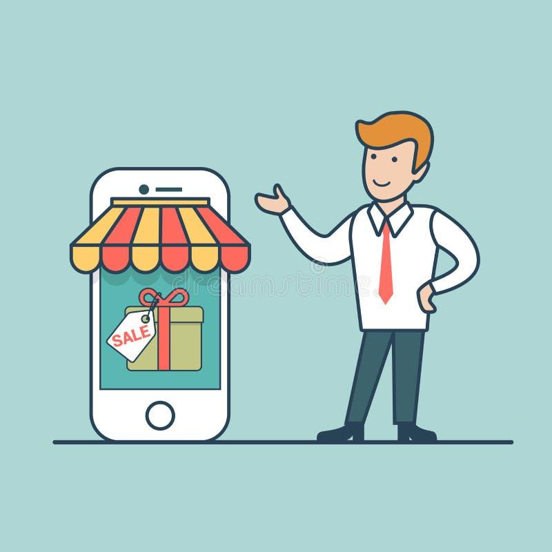 Venta en línea de las compras del hombre de la compra plana linear de la demostración concentrada ilustración del vector