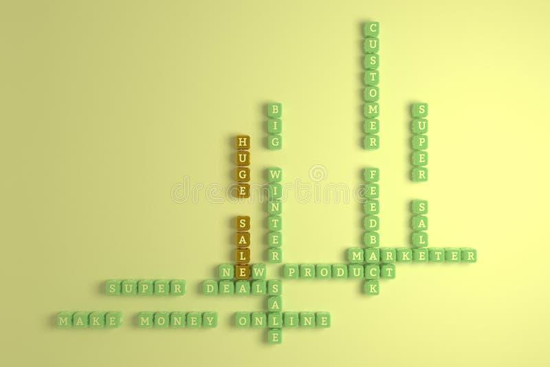 Venta enorme, crucigrama de comercialización de la palabra clave Para la p?gina web, el dise?o gr?fico, la textura o el fondo rep ilustración del vector