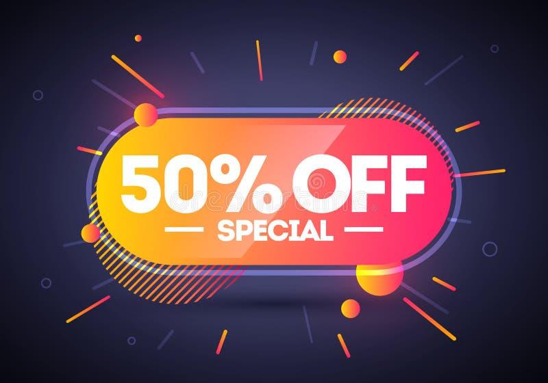Venta especial el 50% del botón de neón de la etiqueta Elemento del Web del vector stock de ilustración