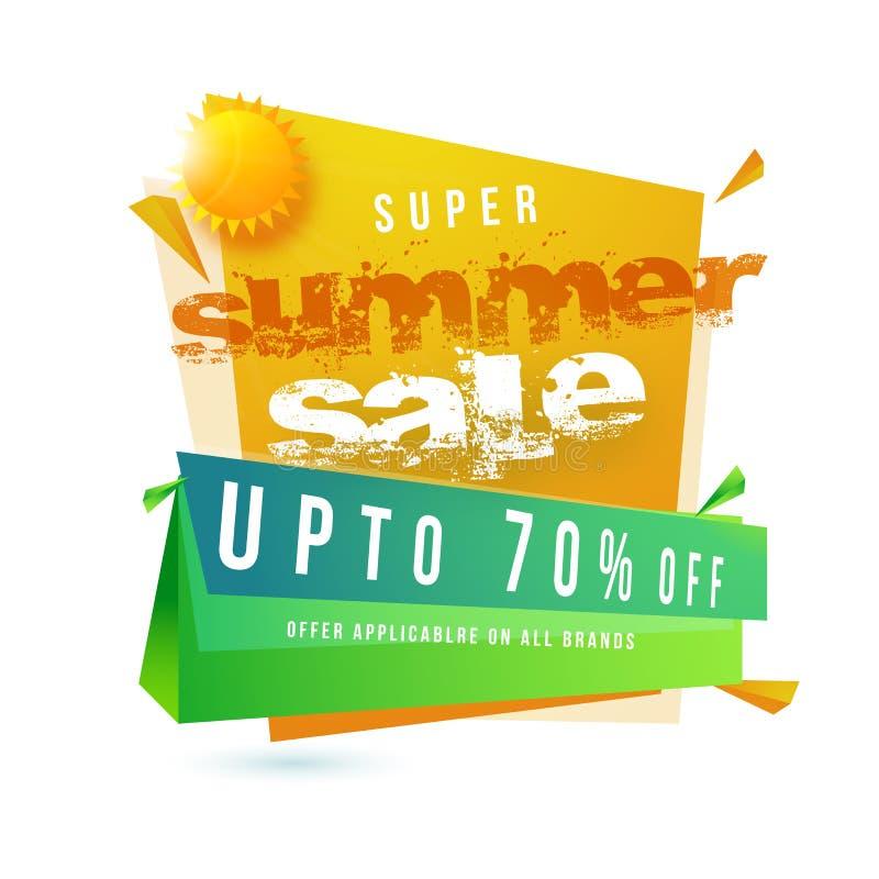 Venta estupenda el hasta 70% del verano de ofertas y de Sun ilustración del vector