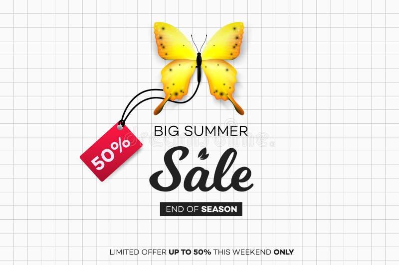 Venta final del verano Mariposa amarilla con la etiqueta de la venta sobre la hoja del cuaderno Ejemplo conceptual moderno del ve libre illustration