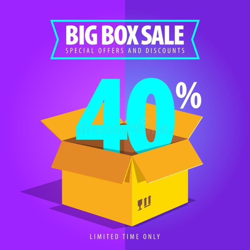 Venta grande de la caja, ofertas especiales y descuentos stock de ilustración