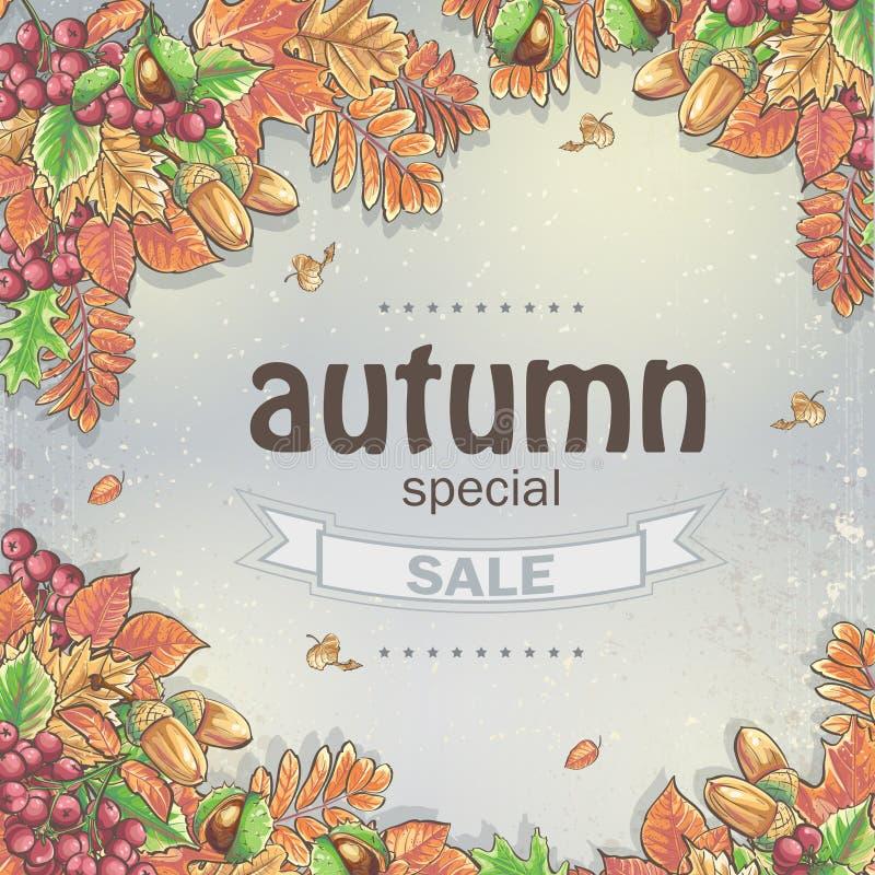 Venta grande del otoño con la imagen de las hojas de otoño, de las castañas, de las bellotas y de las bayas del Viburnum ilustración del vector