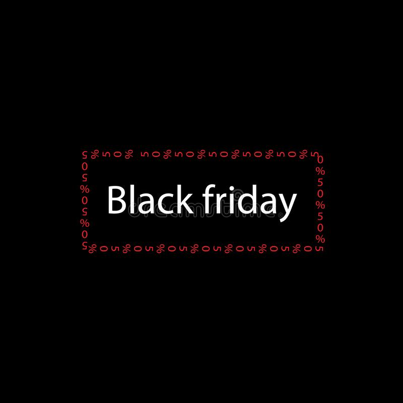 Venta grande del texto negro de viernes bandera con las palabras negras de viernes en marco rojo con el 50% en fondo negro stock de ilustración