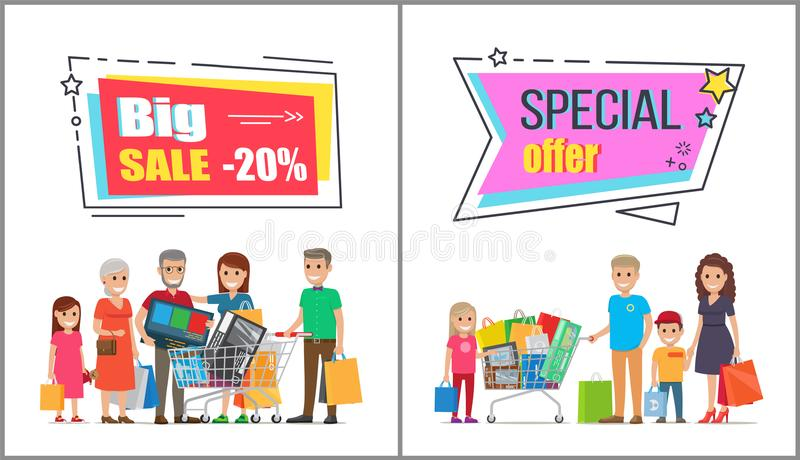Venta grande en las compras de la venta al por mayor para las familias grandes stock de ilustración