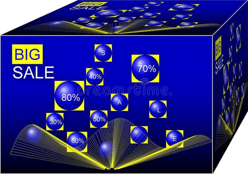 Venta grande Término de márketing y truco Fondo ilustraci?n 3D stock de ilustración