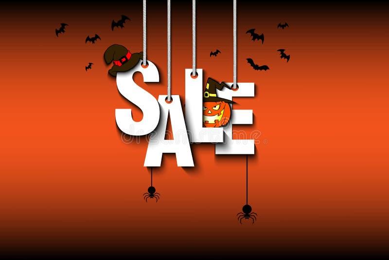 Venta Halloween de la bandera ilustración del vector