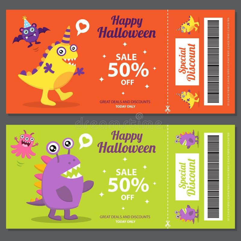 Venta linda de Halloween del monstruo stock de ilustración