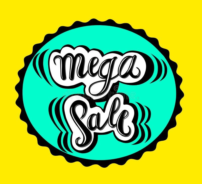 Venta mega de la muestra, icono para su web, etiqueta, icono, diseño dinámico mínimo Bandera mega de la venta de la oferta limita stock de ilustración