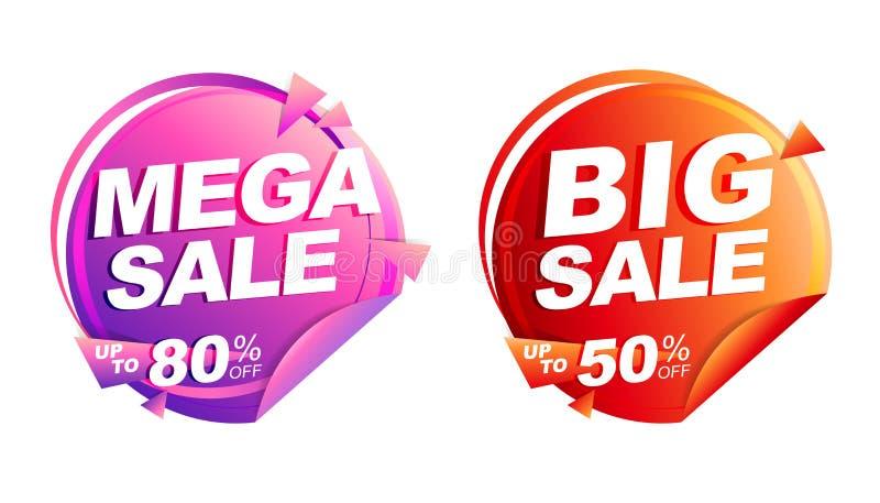 Venta mega, venta grande el hasta 50% del ejemplo aislado del vector, bandera del precio de la etiqueta del descuento, roja y ros ilustración del vector