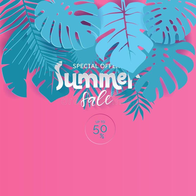 Venta moderna del verano del cartel del vector para la oferta especial Rosa y ejemplo cortado de papel azul para el cartel, publi ilustración del vector
