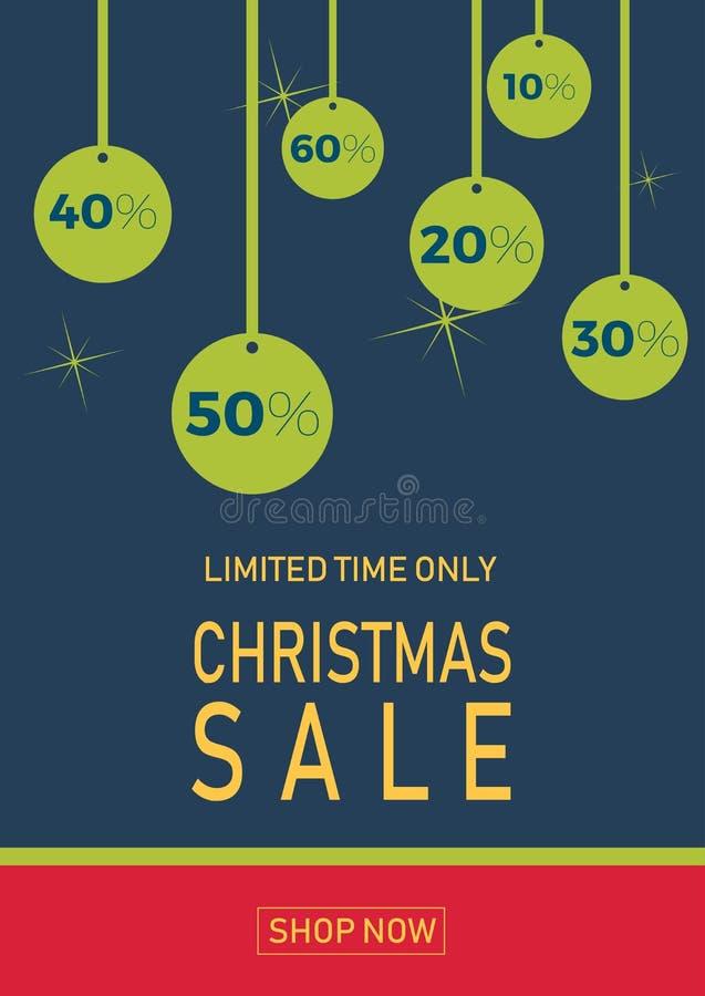 Venta navideña en fondo plano con bolas. Sólo tiempo limitado. Plantilla para banner, compras, descuento. Vector libre illustration