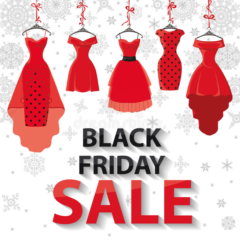 Venta negra de viernes Vestidos de fiesta rojos, copos de nieve ilustración del vector