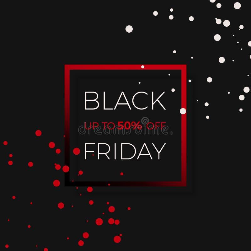 Venta negra del descuento de viernes Plantilla del diseño de la bandera del promo Ilustración del vector libre illustration