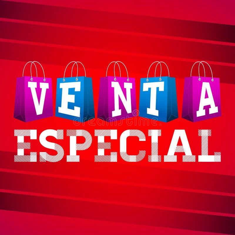 Venta particolare - testo dello Spagnolo di vendita speciale illustrazione di stock