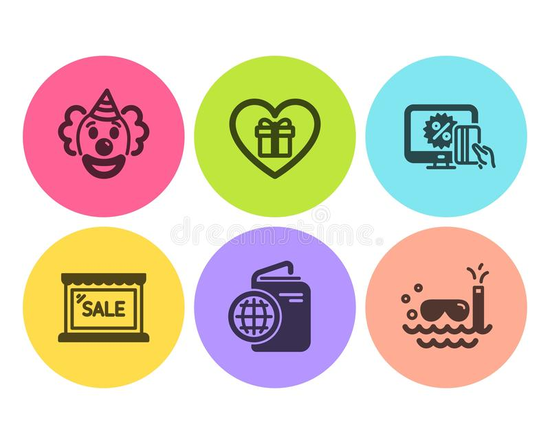 Venta, payaso y sistema en línea de los iconos que hace compras Pasaporte del viaje, regalo romántico y muestras del buceo con es ilustración del vector
