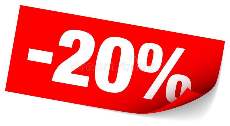 Venta pegajosa roja de la nota menos el veinte por ciento stock de ilustración