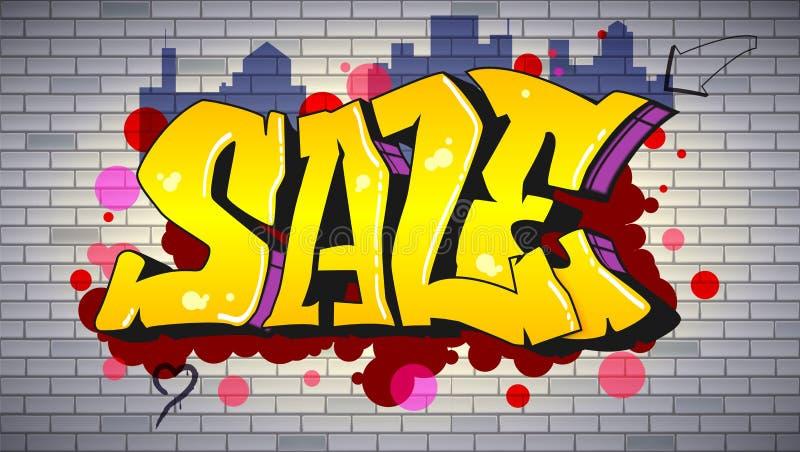 Venta, poniendo letras en hip-hop, estilo de la pintada Cartel horizontal del anuncio urbano Arte de la calle en la pared de ladr stock de ilustración