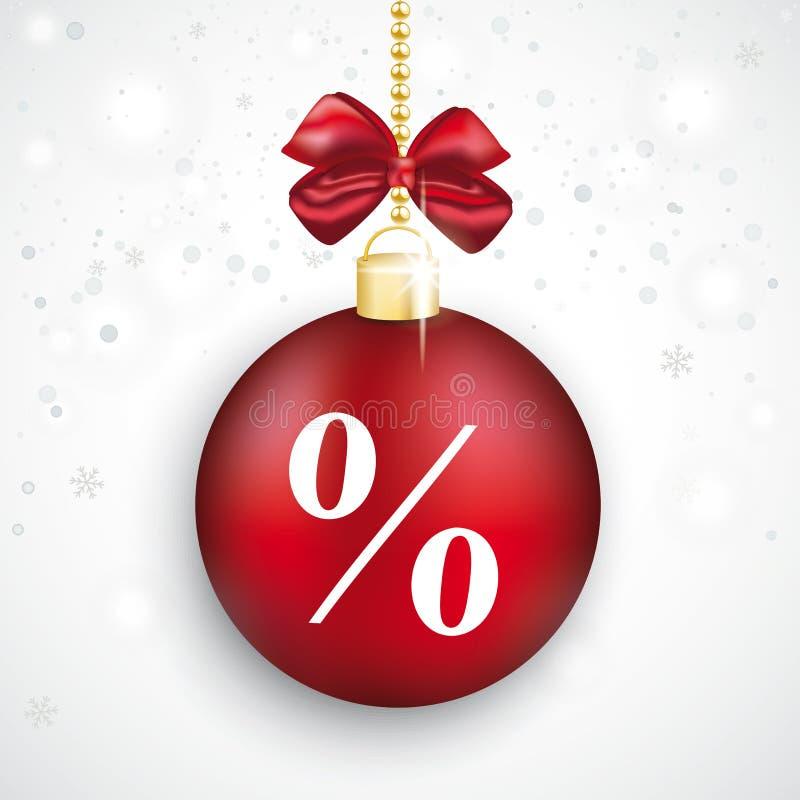 Venta roja de la Navidad del por ciento de la chuchería stock de ilustración