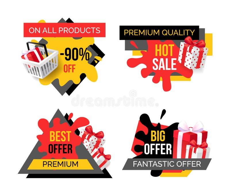Venta superior de los productos de calidad, oferta exclusiva libre illustration