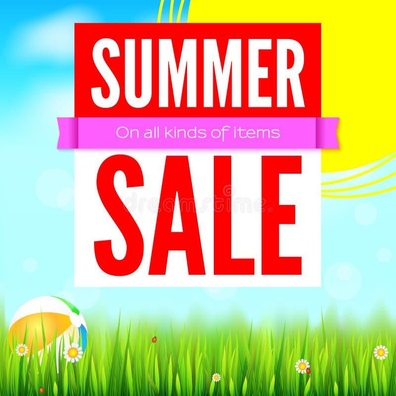 Venta toda clase de artículos Descuentos calientes del verano Venta de la bandera del anuncio Fondo del verano de Sun con el sol  ilustración del vector