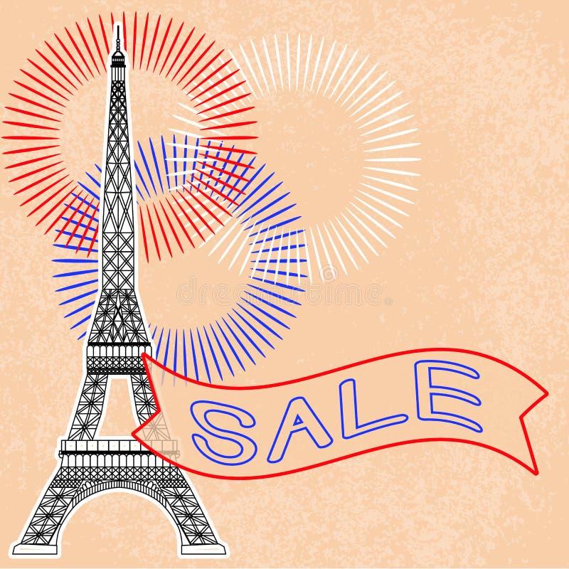 Venta Torre Eiffel Fuegos artificiales Cinta con el texto stock de ilustración