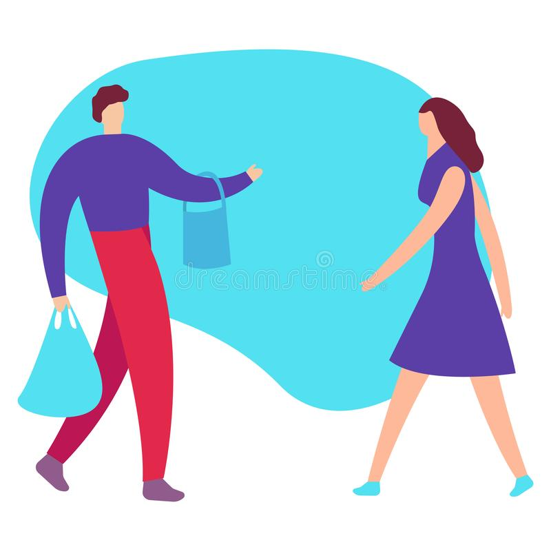 Venta y concepto grandes de las compras El ejemplo plano del vector para una bandera El hombre y la mujer van a hacer compras libre illustration