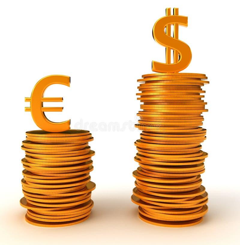 Ventaja dólar americano sobre euro stock de ilustración
